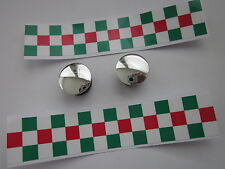 NOS HANDLEBAR END PLUGS CAPS CHROME WITH RED/WHITE/GREEN TAPES