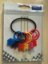 BNIP New Glass Markers / Wine Glass Charms x 6 - Lovely Leaves by Lurch