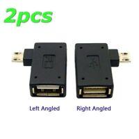 2pcs 90D Left & Right Angled Micro USB 2.0 OTG Host Adapter+ USB Power for Phone