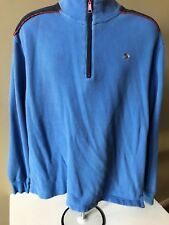 Orvis Men's L Blue Elbow Patches 1/4 Zipper Embroidered Fly Fish Logo Pullover