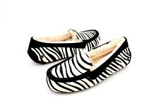 UGG ANSLEY EXOTIC COW HAIR SUEDE ZEBRA PRINT MOC SLIPPERS SIZE 10 US