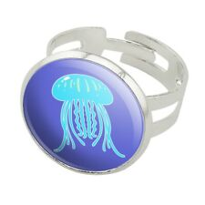 Cute Jellyfish Tentacles Ocean Silver Plated Adjustable Novelty Ring