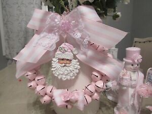 Shabby pink Cottage chic Christmas Jingle Bell Wreath With  Santa Victorian Rose