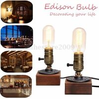E27 Industrial Retro Vintage Edison Wooden Socket Desk Light Table Lamp