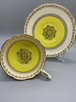 Rare Vintage Royal Stafford Tea Cup & Saucer Gold Medallion Yellow Bone China