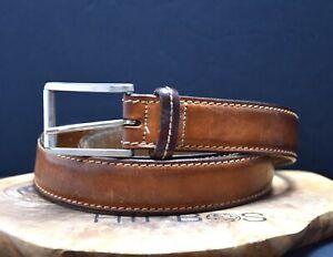 JBE Vintage Classic Mens Leather Jeans Belt Brown Size 36
