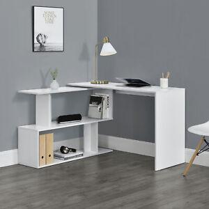 Schreibtisch Winkelschreibtisch Eckschreibtisch Computertisch Tisch Regal Weiß