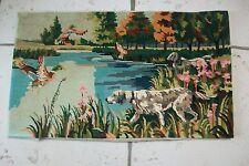 Francés Vintage Tapiz de perros persiguiendo patos Tapicería Cojines #16 caza