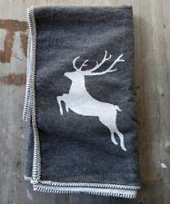 David Fussenegger Xmas Cotton Reversible Throw Gray/White Reindeer Motif - New