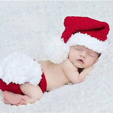 Newborn Baby Xmas Santa Claus Knit Outfit Pants Hat Photography Prop Healthy