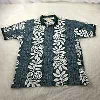 Kahala Hawaiian Islands Men's Large Polo Shirt Green Floral Aloha Short Sleeve