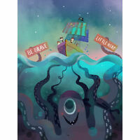 Pirates Octopus Be Brave Large Canvas Wall Art Print