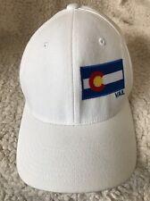 Vail Colorado White FlexFit Size S/M Colorado Flag White Baseball Cap Ski Snow
