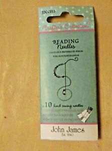 JOHN JAMES CRAFTERS COLLECTION 10 ASSORTED BEADING NEEDLES SIZES 10,11 & 12 c015
