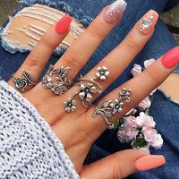 Retro 4Pcs Vintage Silver Boho Flower Leaves Midi Finger Knuckle Rings Jewelry
