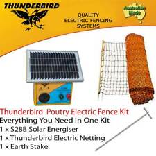THUNDERBIRD POULTRY NETTING &  S28B SOLAR ENERGISER CHICKEN ELECTRIC FENCE KIT