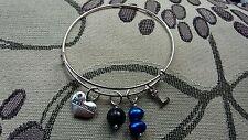 "Handmade special occasion charm bracelet - rigid bangle style (""antique silver"")"