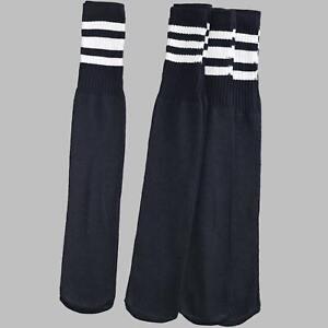 12 Pairs 1 Dozen Black Tube Socks with White Stripes Classic Retro Old School