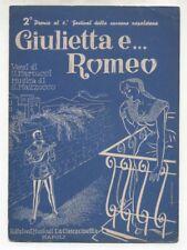 Spartito GIULIETTA E ROMEO Giacomo Rondinella 1958 Festival di Napoli Fierro