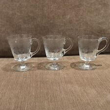 3 X Beautiful Antique Etched Glass Stemmed Custard Cups