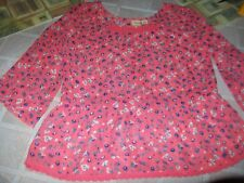 Mudd Coral Colored With Blue Flowers Top Size Girls 12 Worn 1 Time