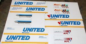 Winross Truck Side Panels United Moving imprints, Rutter, Dana, KFC