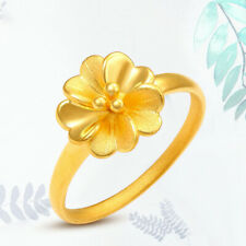 1pcs Hot Sale PURE 24K Yellow Gold Ring WOMEN Elegant Flower Ring US Size 6.5