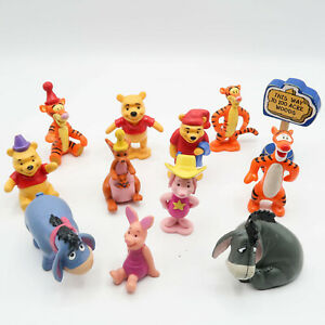 """Disney Winnie the Pooh PVC Figures 100 Acre Woods Cake Toppers 4"""" Lot of 12"""