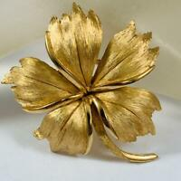 Vintage Crown Trifari Signed Floral Flower Gold Tone Brooch Pin 20o1