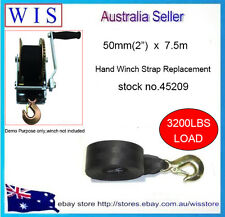 """50mm(2"""") x7.5m Boat Trailer Winch Strap with Forged Snap Hook-45209"""