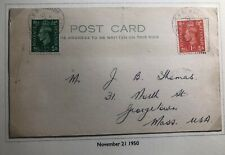 1950 Midland England Postcard Cover Traveling Post Office To Georgetown Usa