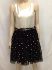 Justice For Girls Party Dress Size 16 Polka Dot Black Gold