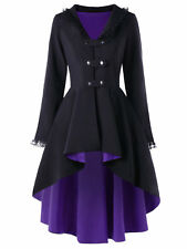 Women Steampunk Victorian Gothic Coat Jacket Lace Trim Bandage Medieval Dress