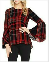 Vince Camuto Small Pleated Bell Sleeve Plaid Blouse Top Black Red Tunic