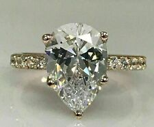 2ct Pear Cut Diamond Solitaire 14k Rose Gold Over Round Accents Engagement Ring