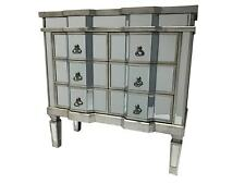 Mirrored Chest of Drawers Bedroom Furniture Storage Glass Antiqued Silver Wooden