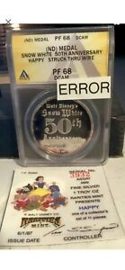 1987 USA Silver Disney Snow White 50th Anniversary PF68 DCAM ERROR ANACS MEDAL