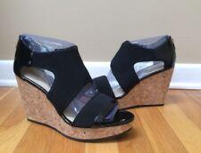 10b90b7bdd9 ADRIENNE VITTADINI  Chelle  Black Cork Wedge Sandals - Size 10M BRAND NEW