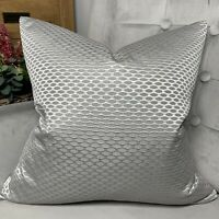 "Luxury Cushion Cover 18"" John Lewis & Partners Contour Fabric, Grey Silver Decor"