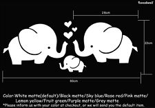 Elephant Family heart love Wall Art Stickers Removable Decals Best Gifts