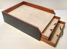 Levenger 2 Drawer Letter Tray Wood & Leatherette