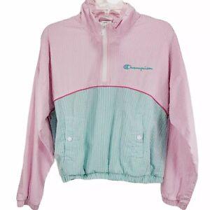 Champion Womens Small S Seersucker Popover Half Zip Pink Sea Green Jacket JKT12