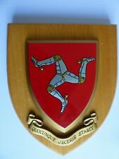 More details for isle of man large wooden shield 6 x 7 inches quocunque jeceris stabit.hanging fi