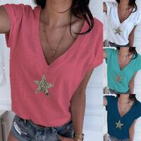 Womens Ladies T Shirt Star Sequins Loose Tops Summer Short Sleeve Tee Blouse Cen