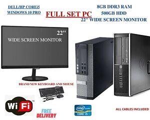 """DELL HP PC CORE i5 8GB 500GB WIFI WIN 10 22"""" MONITOR FULL SET COMPUTER WiFi"""