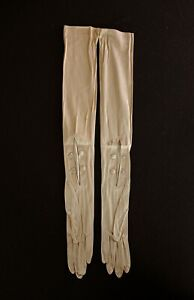 VINTAGE 1920'S DEADSTOCK UNWORN LONG TAN FINE SILK GLOVES, SIZE 5