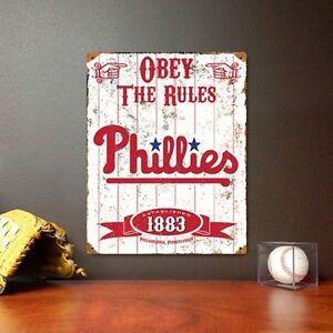 Philadelphia Phillies Metal Sign Embossed Steel