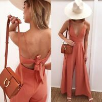 Summer Women V Neck Strappy Wide Leg Sleeveless Jumpsuit Holiday Backless Romper