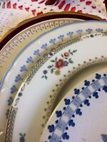 "4 - Vintage Mismatched China Dinner Plates Cranberry Blue Pink 10 1/2""  #298"
