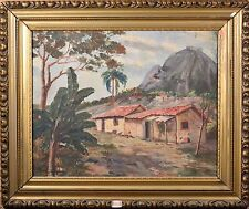 Antique Oil Painting of Brazilian Landscape, Illegibly Signed & Beautiful Frame!